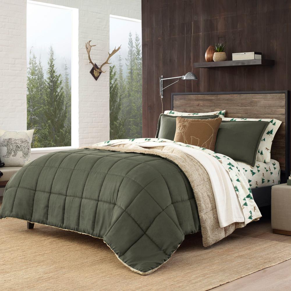 Sherwood 3-Piece Green Solid Full/Queen Comforter Set