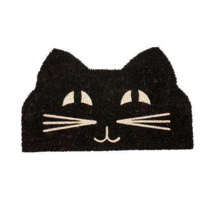 Cat Face 17 in. x 28 in. Non-Slip Coir Door Mat