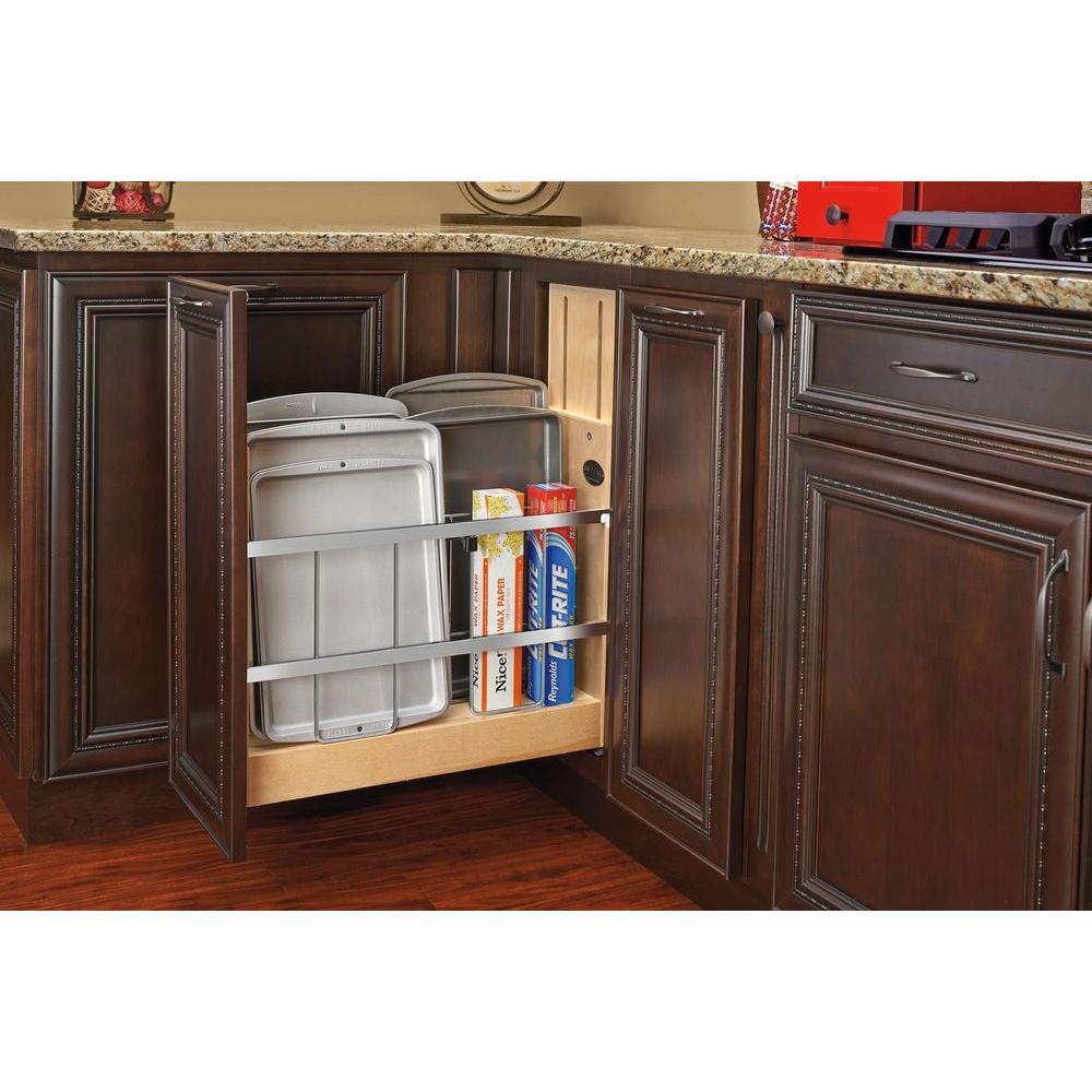 19.5 in. H x 5.25 in. W x 22.44 in. D Pull-Out Wood Foil Wrap/Tray Divider Cabinet Organizer