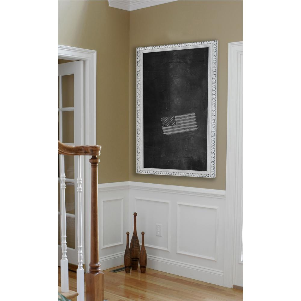24 in. x 24 in. French Victorian White Blackboard/Chalkboard