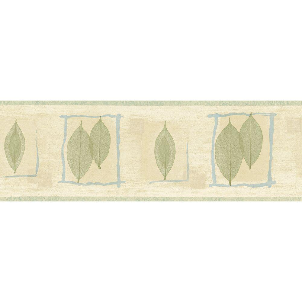 The Wallpaper Company 8 in. x 10 in. Green and Blue Transitional Leaf Border Sample