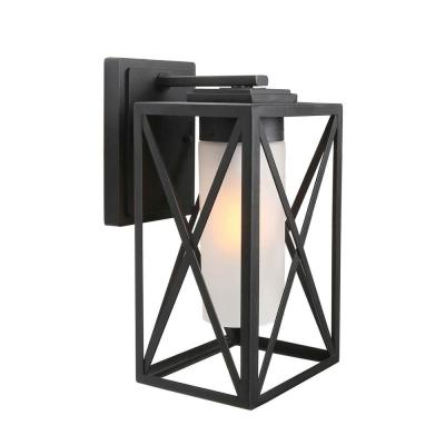 Macstreete 1-Light Outdoor Black Wall Lantern Sconce Decorative Patio Coach Light with Frosted Cylinder Glass