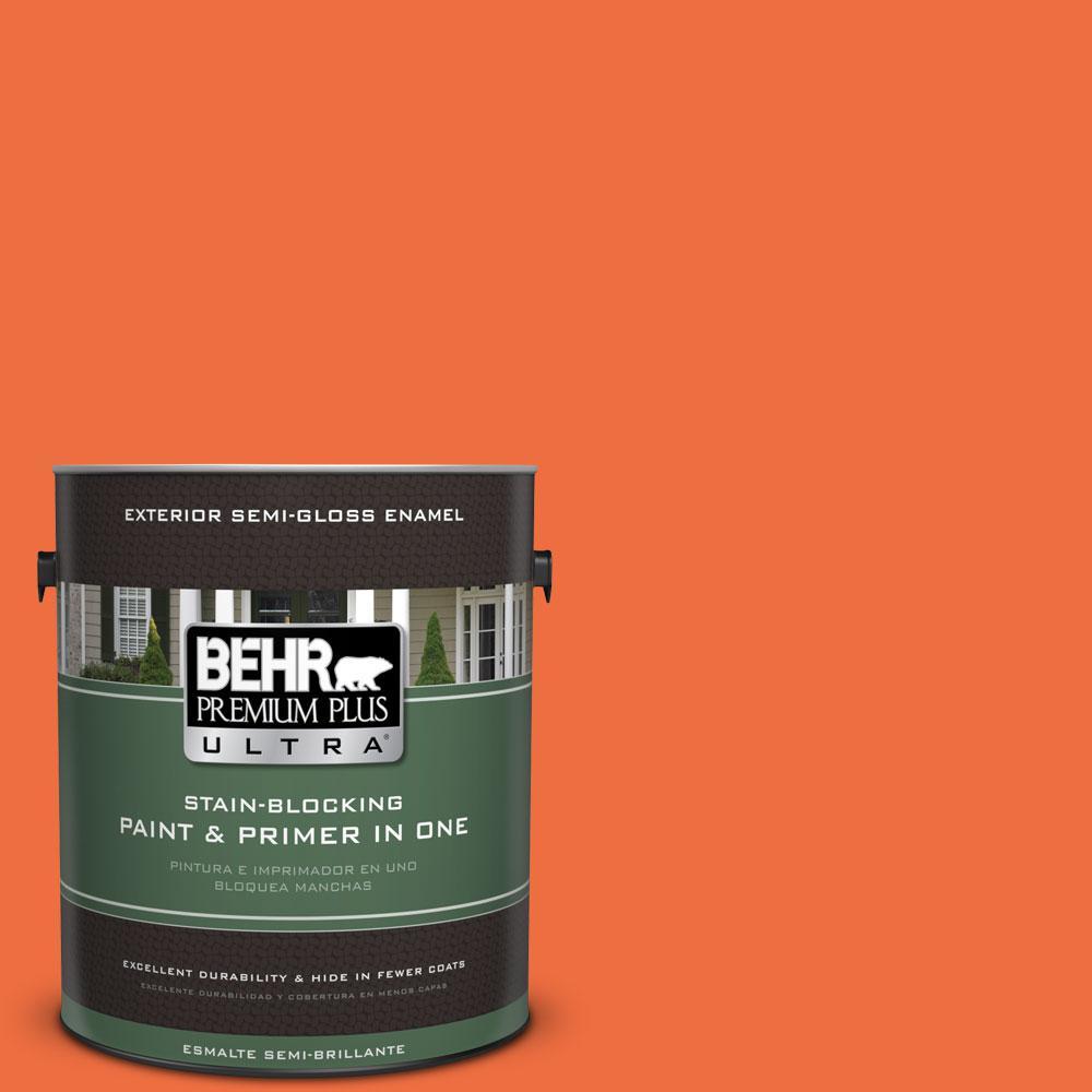 BEHR Premium Plus Ultra 1-gal. #210B-6 Aurora Orange Semi-Gloss Enamel Exterior Paint