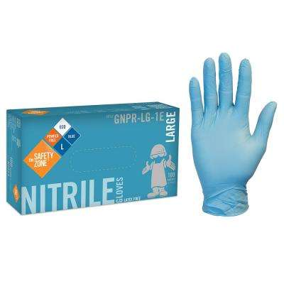 Large Blue Disposable Nitrile Powder-Free Gloves (10-Pack of 100-Count)