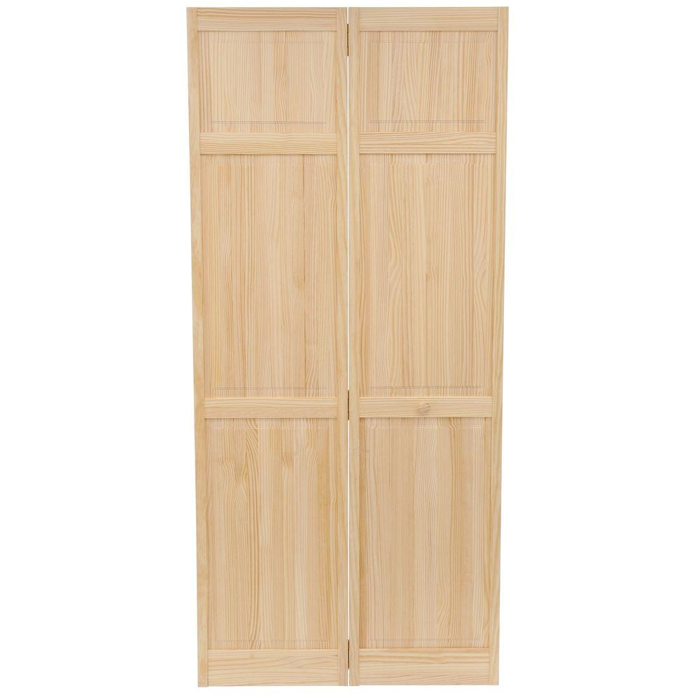 Clear 6 Panel Solid Core Unfinished Wood Interior Closet Bi Fold