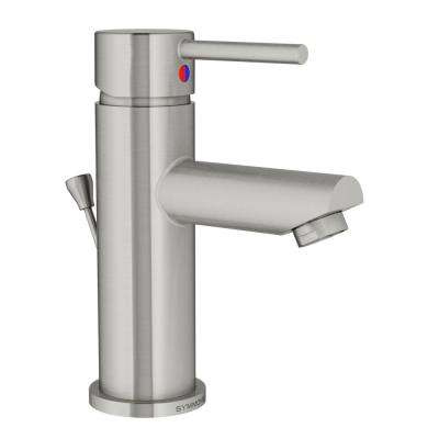 Modern Single Hole Single-Handle Bathroom Faucet with Drain Assembly in Brushed Nickel