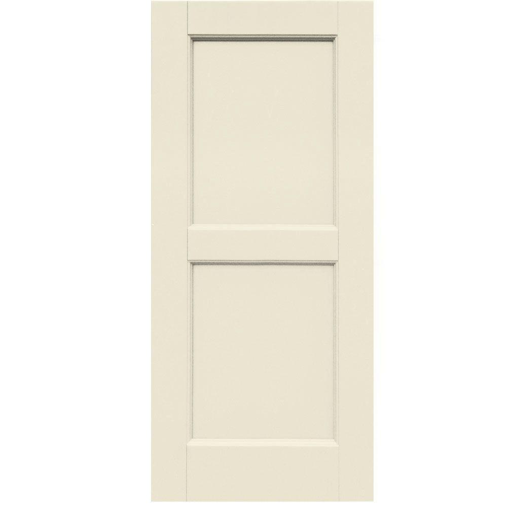 Winworks Wood Composite 15 in. x 34 in. Contemporary Flat Panel Shutters Pair #651 Primed/Paintable