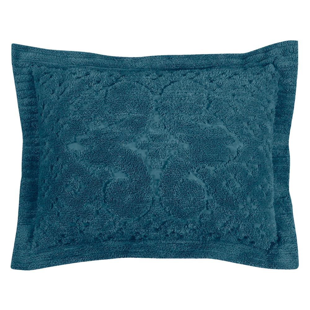 Ashton Collection in Medallion Design Teal Standard 100% Cotton Tufted Chenille Sham