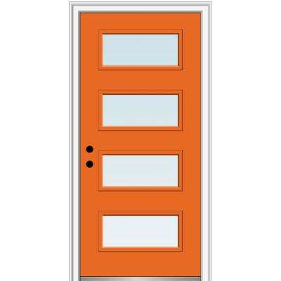 32 in. x 80 in. Celeste Right-Hand Inswing 4-Lite Clear Painted Fiberglass Smooth Prehung Front Door, 4-9/16 in. Frame