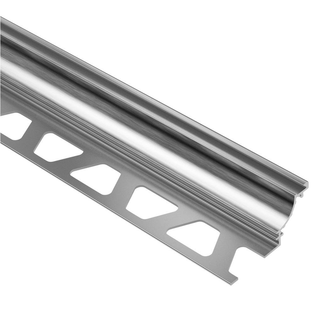 Schluter Dilex-AHK Brushed Chrome Anodized Aluminum 5/16 in. x 8 ft. 2-1/2 in. Metal Cove-Shaped Tile Edging Trim