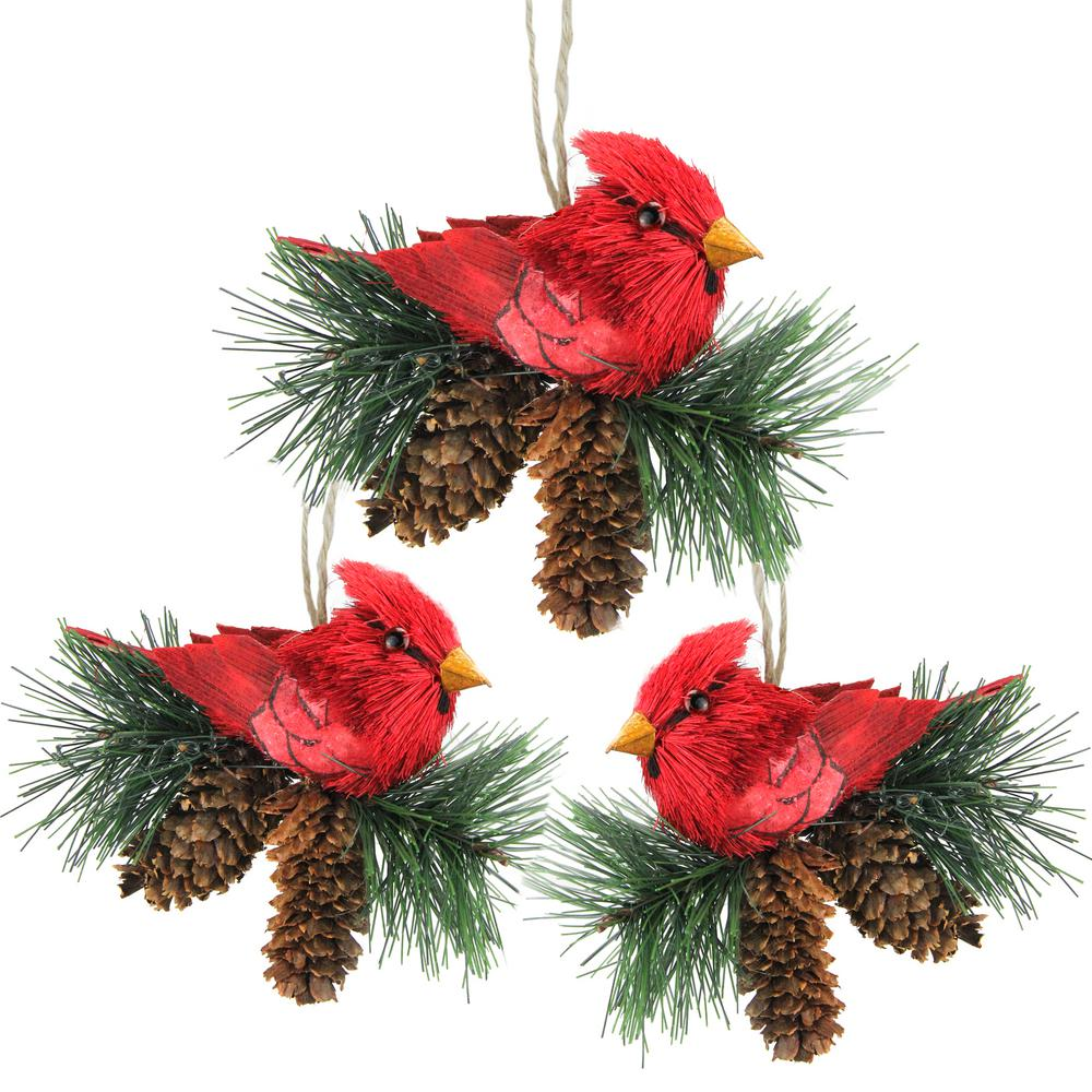 red cardinal birds on pine cones christmas ornaments pack of 3