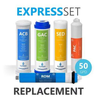 6 Month Reverse Osmosis System Replacement Filter Set - 5 Filters with 50 GPD RO Membrane - 10 in. Size Water Filters