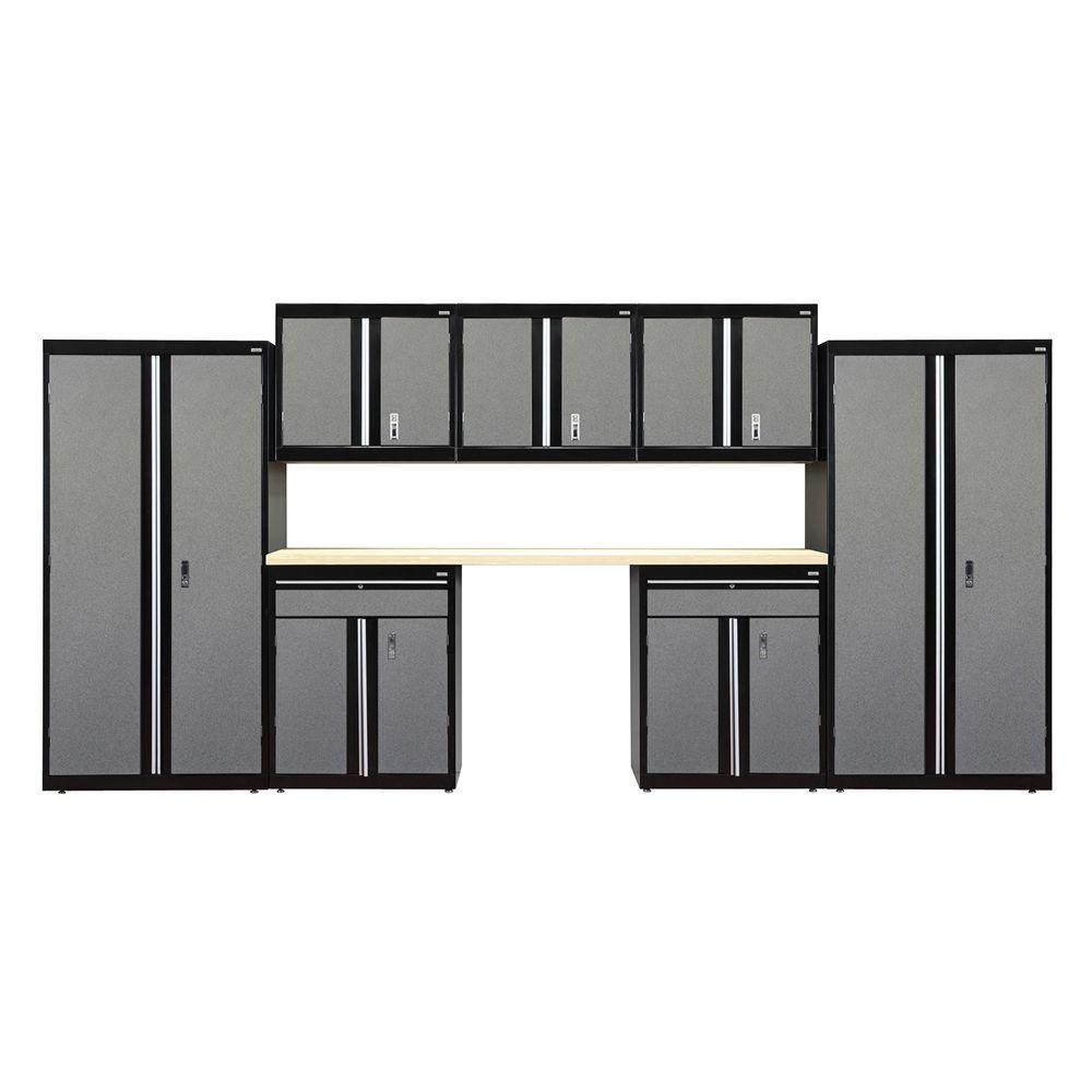 72 in. H x 162 in. W x 18 in. D Welded Steel Garage Cabinet Set in Black/Multi-Granite (8-Piece)