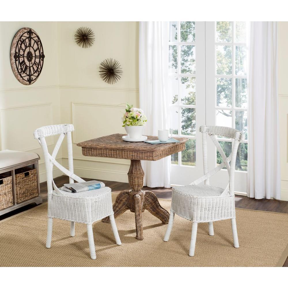 Safavieh Katell White Rattan Side Chair (Set Of 2)