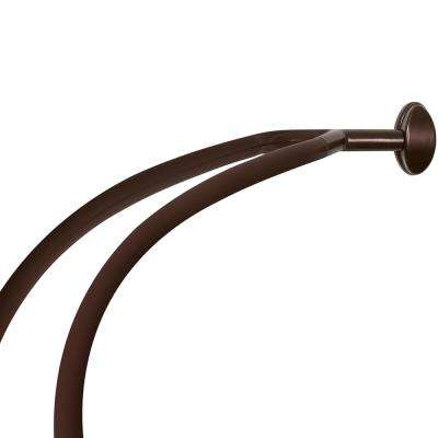 Aluminum Double Curved Shower Curtain Rod In Bronze