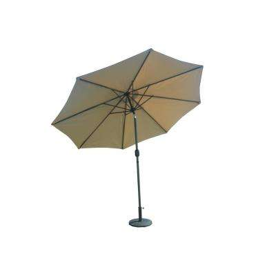 9.8 ft. Steel Crank and Market Tilt Patio Umbrella with Base in Cafe