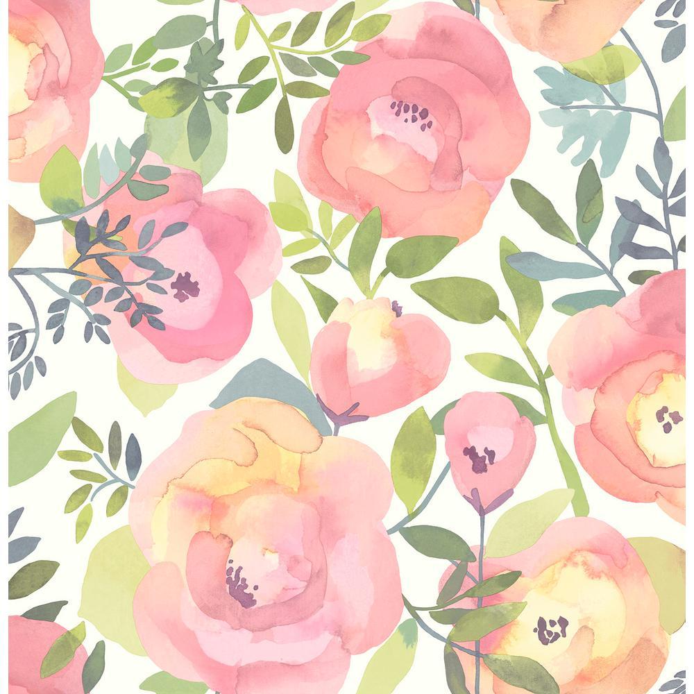 Peachy Keen Pink Peel and Stick Wallpaper Sample