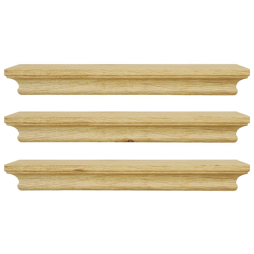 Kiera Grace Boston 16 in. x 4 in. Pale Natural Wood Wall Shelf (Set ...