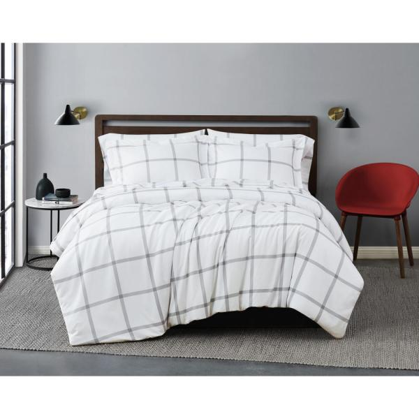 Printed Windowpane 3-Piece White/Grey Microfiber Full/Queen Comforter Set