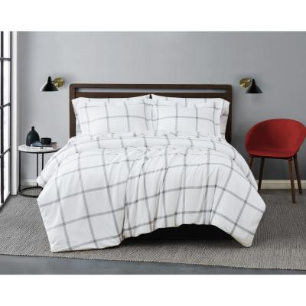 Printed Windowpane 3-Piece White/Grey Microfiber King Comforter Set