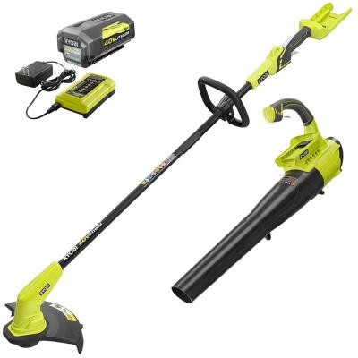 40-Volt Cordless Lithium-Ion String Trimmer and Jet Fan Blower Combo Kit (2-Tool) - 4.0 Ah Battery and Charger Included