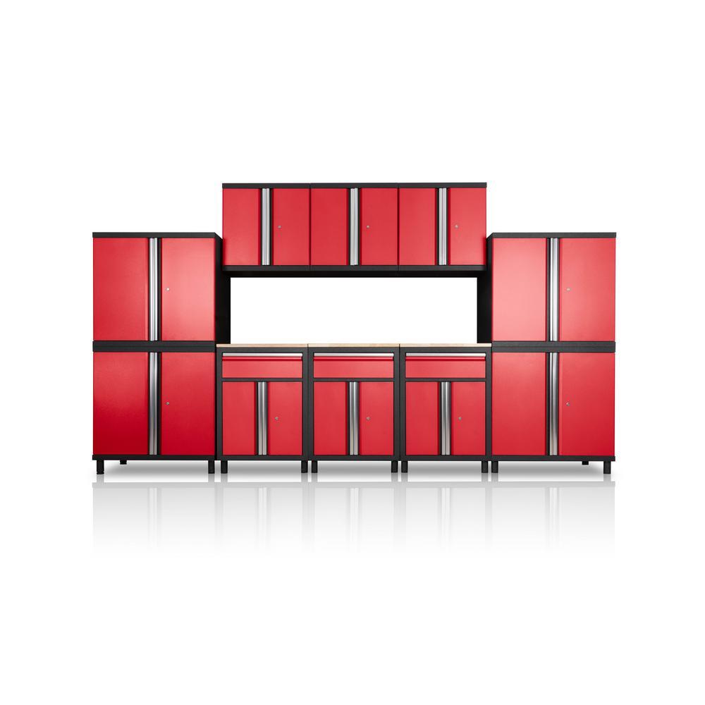 Pro Series III 81.1 in. H x 152.4 in. W x 18 in. D 23/24 Gauge Steel Wood Worktop Cabinet Set in Red (10-Piece)