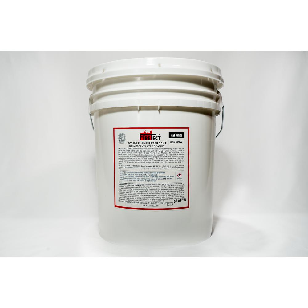 Firetect WT-102 5 gal. White Flat Latex Intumescent Fireproofing Flame Retardant Paint Coating for Wood