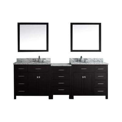 Caroline Parkway 93 in. W x 36 in. H Vanity with Marble Vanity Top in Carrara White with White Basin and Mirror