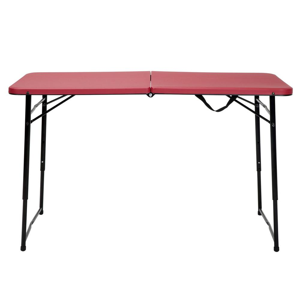 Red Metal Portable Folding High Top Table