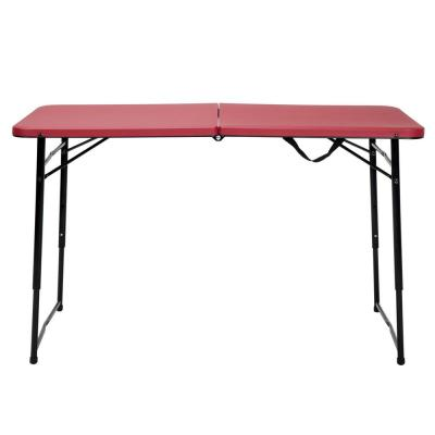 48 in. Red Metal Portable Folding High Top Table