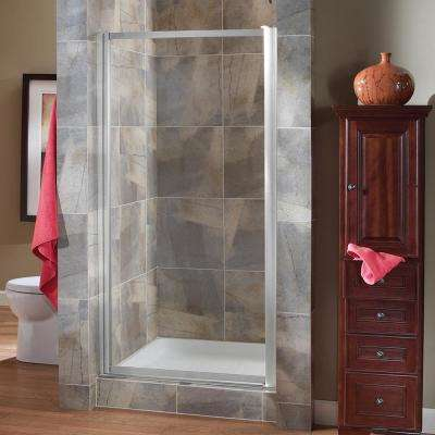 Tides 23 in. to 25 in. x 65 in. Framed Pivot Shower Door in Silver with Clear Glass with Handle