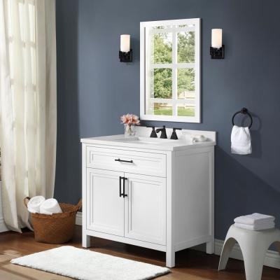Mayfield 36 in. W x 22 in. D Vanity in White with Cultured Marble Vanity Top in White with White Basin