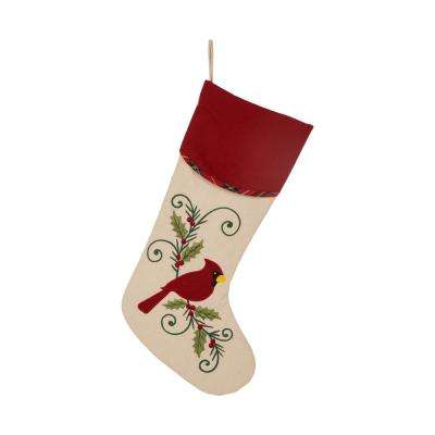 21 in. H Fabric Cardinal Stocking