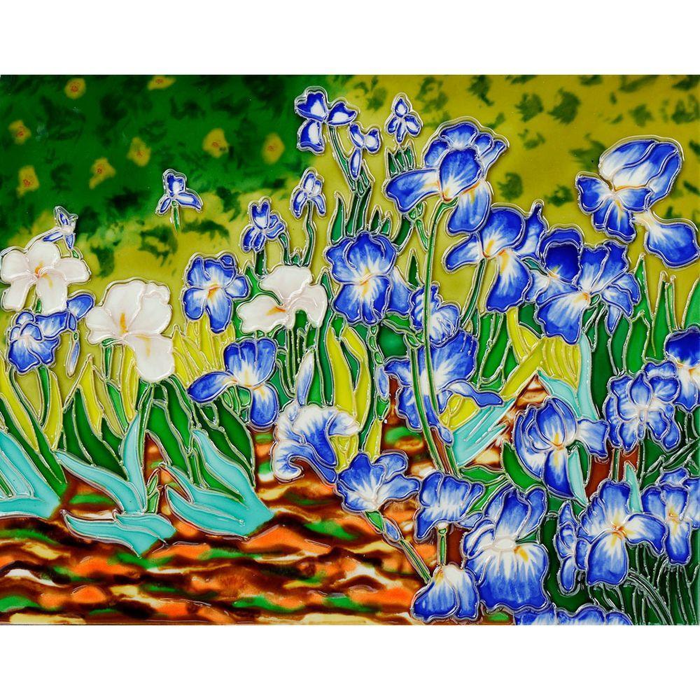 overstockArt Van Gogh, Irises Trivet and Wall Accent 11 inch x 14 inch Tile (felt back) by overstockArt