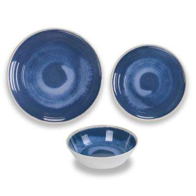 12-Piece Blue Raku Dinnerware Set