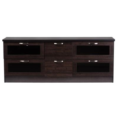 Adelino 62 in. Dark Brown Wood TV Stand with 2 Drawer Fits TVs Up to 70 in. with Storage Doors