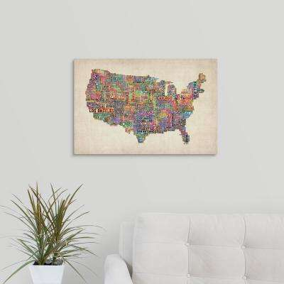 """United States Cities Text Map, Multicolor on Parchment"" by  Michael Tompsett Canvas Wall Art"