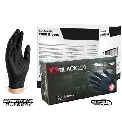 BX3D Black Nitrile Industrial Latex Free Disposable Gloves (Case of 2000)