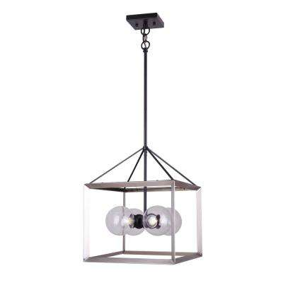 Leo 4-Light Matte Black and Brushed Nickel Chandelier with Clear Glass Shades