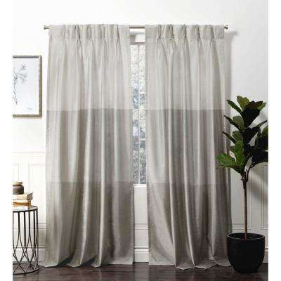 Chateau Dove Grey Room Darkening Triple Pinch Pleat Top Curtain Panel - 27 in. W x 84 in. L   (2-Panel)