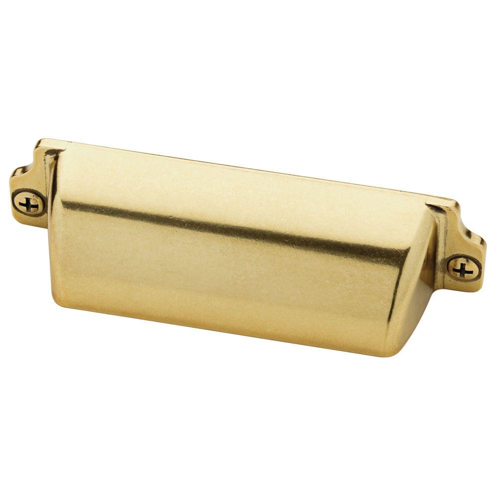 Martha Stewart Living Awning 3 in. (76mm) Center-to-Center Bedford Brass Cup Drawer Pull