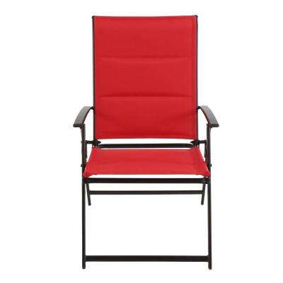 Mix and Match Folding Metal Outdoor Dining Chair in Ruby Sling (2-Pack)