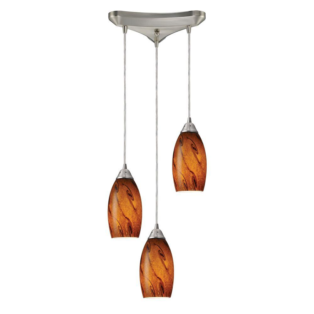 Galaxy 3-Light Satin Nickel Ceiling Pendant
