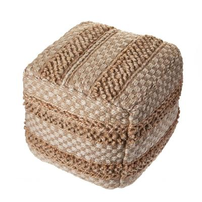 Natural Jute Brown Blocks Checks Pouf