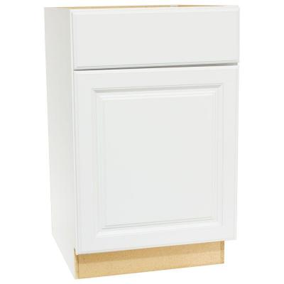 Hampton Assembled 21x34.5x24 in. Base Kitchen Cabinet with Ball-Bearing Drawer Glides in Satin White