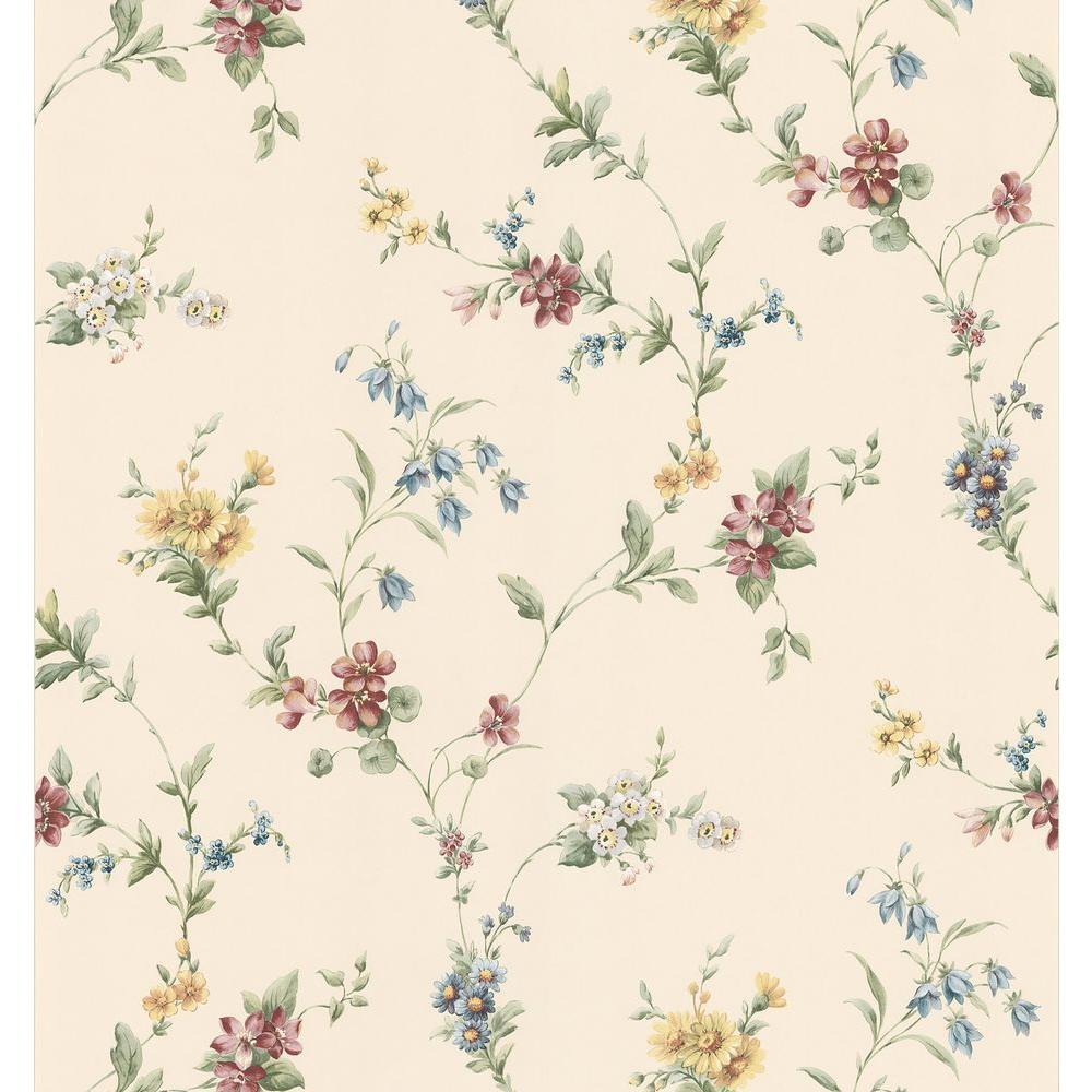 Kitchen Bath Bed Resource III Neutral Floral Trail Wallpaper Sample