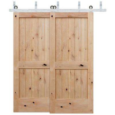 72 in. x 80 in. Bypass 2-Panel V-Groove Solid Core Knotty Alder Barn Door with Stainless Steel Sliding Door Hardware Kit