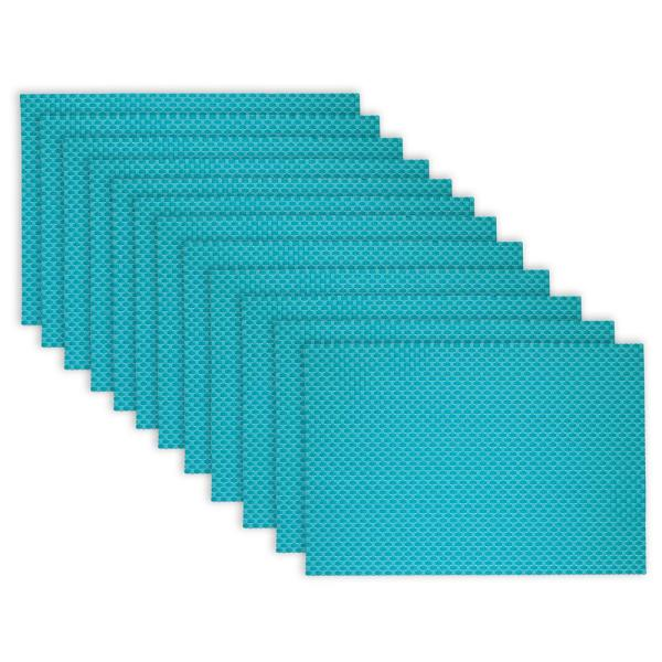 19 in. x 13 in. Reversible Indoor Outdoor Tonal Placemats Aqua PVC and Polyester Blend (Set of 12)
