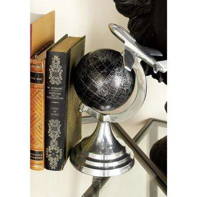 10 in. x 7 in. Vintage Decorative Globe with Propeller Airplane
