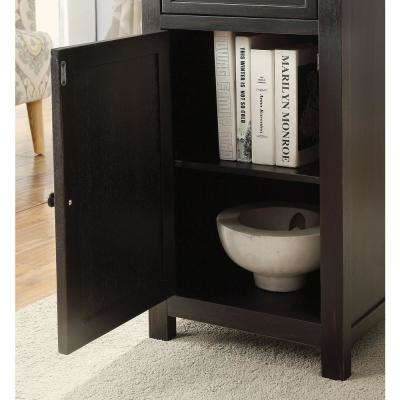 Marana Black Side Table with Drawer and Storage Cabinet